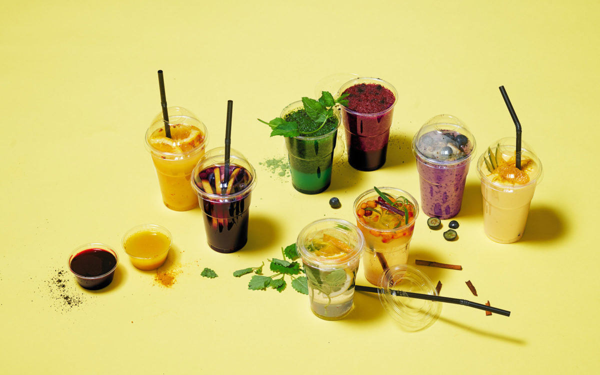 Smoothies, juicer, shots, lemonader och smuicies från cafékonceptet Go Goodness.