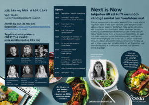 Inbjudan för Next is Now event 24 maj 2019 från Orkla FoodSolution
